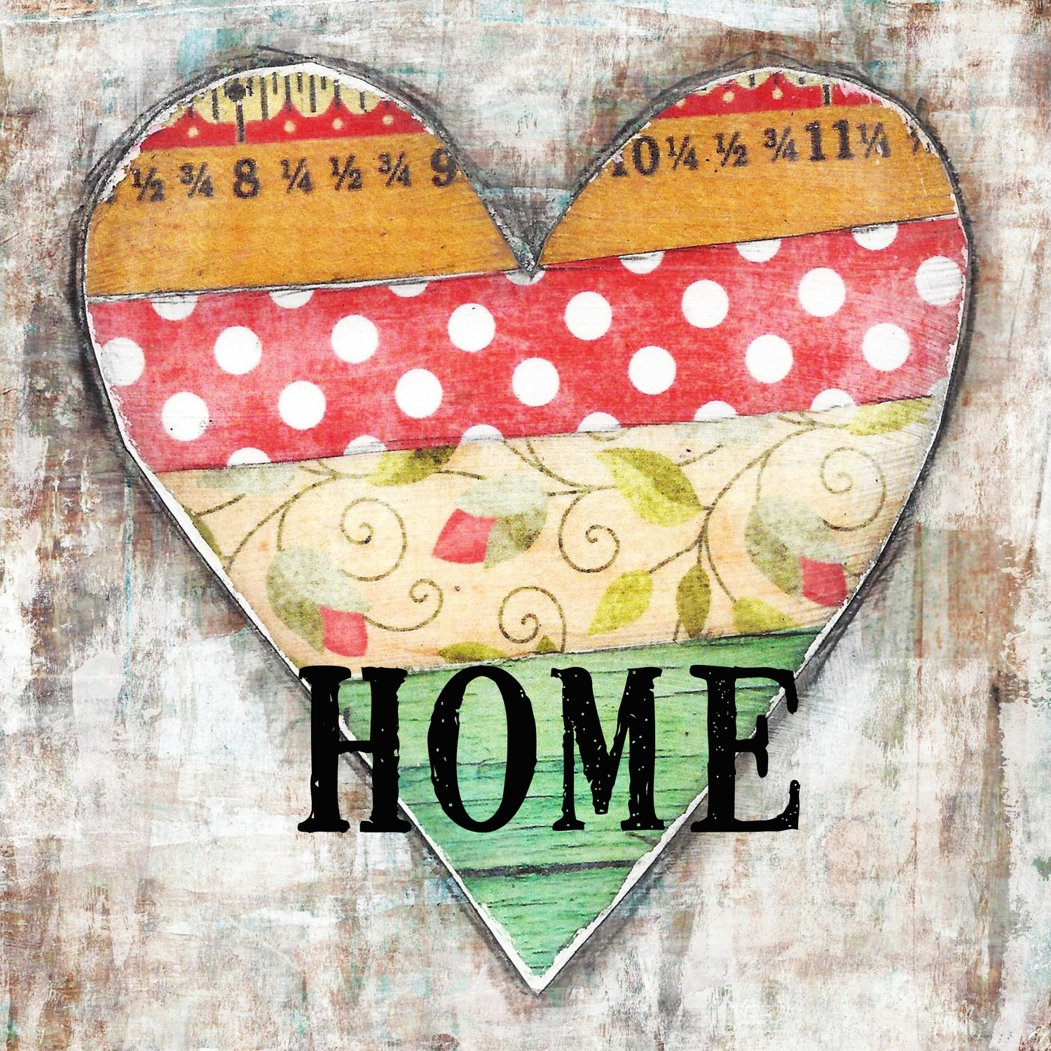 """Home"" heart Print on Wood and Print to be Framed"