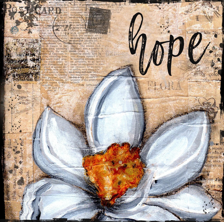 """""""Hope"""" magnolia print of the original on wood"""