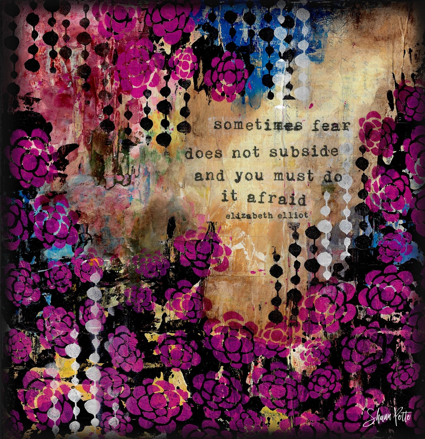 """Sometimes fear does not Subside"" print of original on wood"