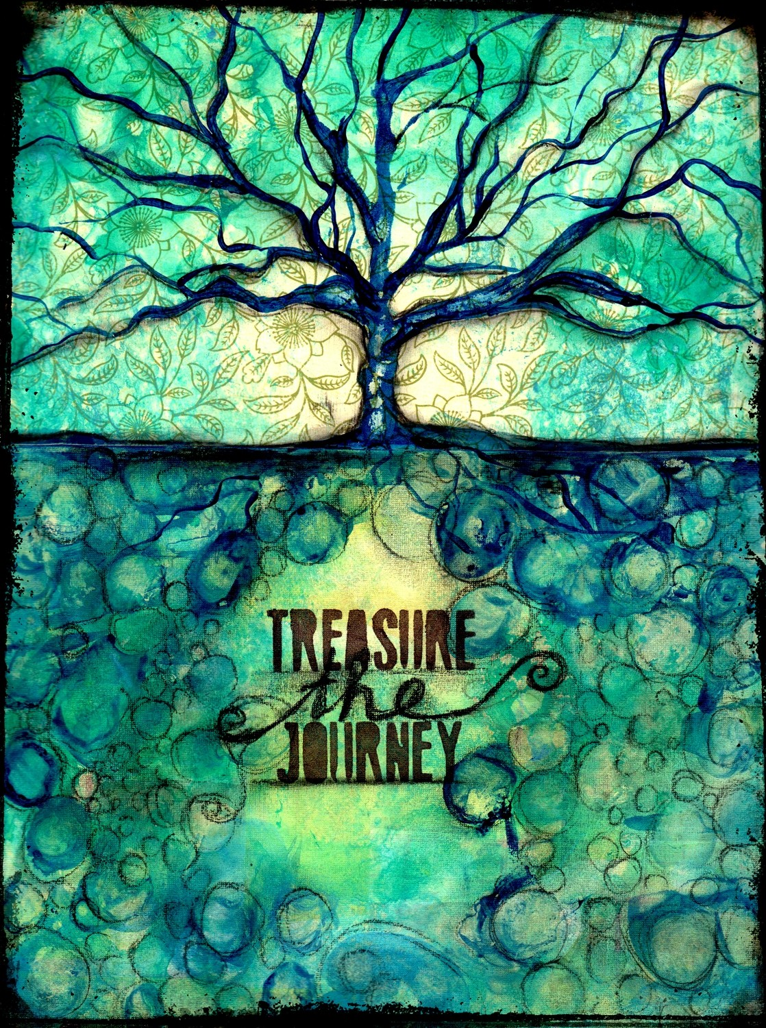 """Treasure the Journey"" print of original on wood"