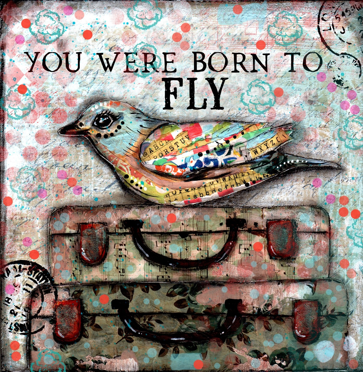 """You were born to Fly"" print of original on wood"