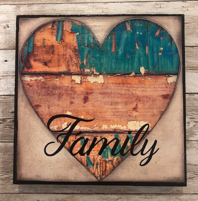"""Family"" print of original on wood 8x8"