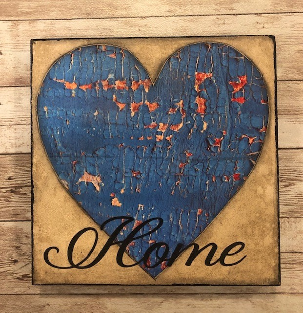 """Home"" print of original on wood 8x8"