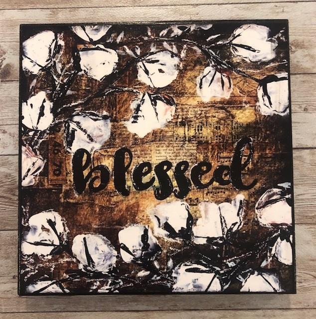 """Blessed"" print of original on wood 8x8"