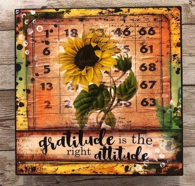"""Gratitude"" print of original on wood 6x6"