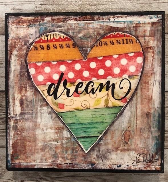 """Dream"" print of original on wood 6x6"