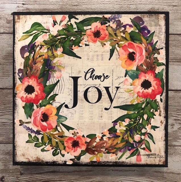"""Joy"" print of original on wood 6x6"