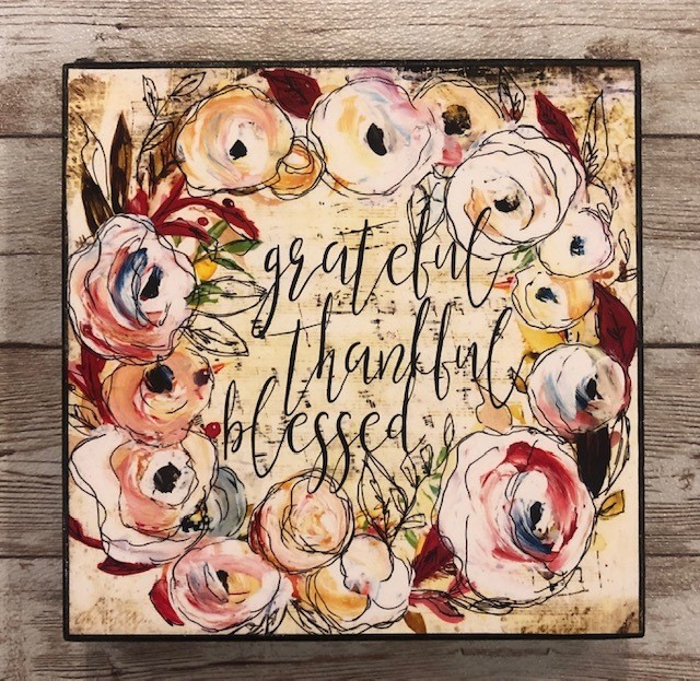 """Grateful"" print of original on wood 6x6"