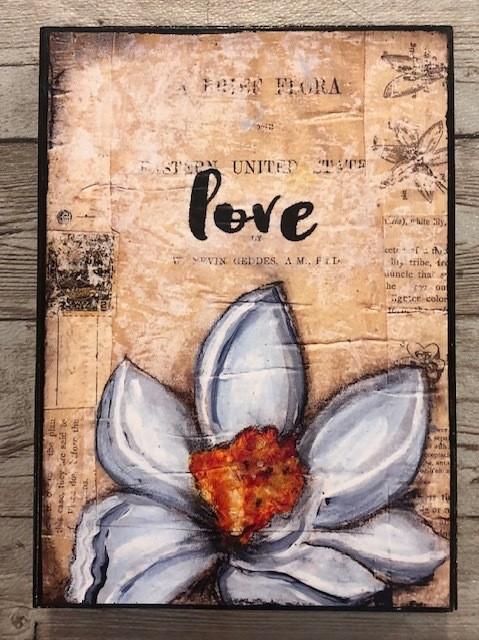 """Love"" print of original on wood 5x7"