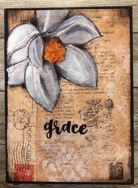 """Grace"" print of original on wood 5x7"