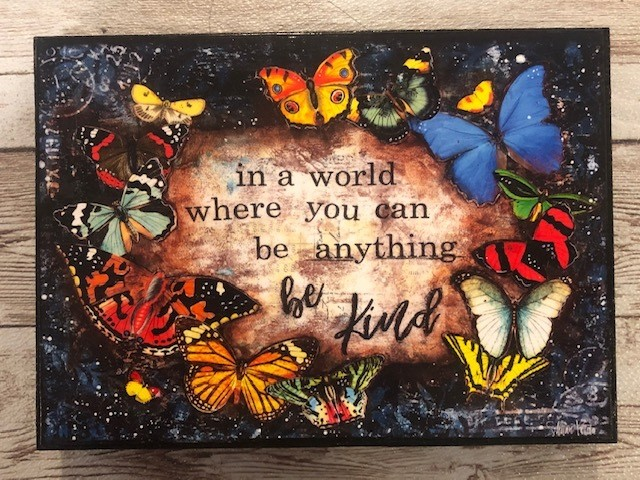 """In a world"" print of original on wood 7x5"