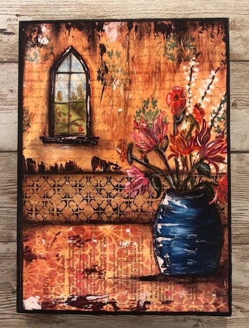 """Blue Vase"" print of original on wood 5x7"