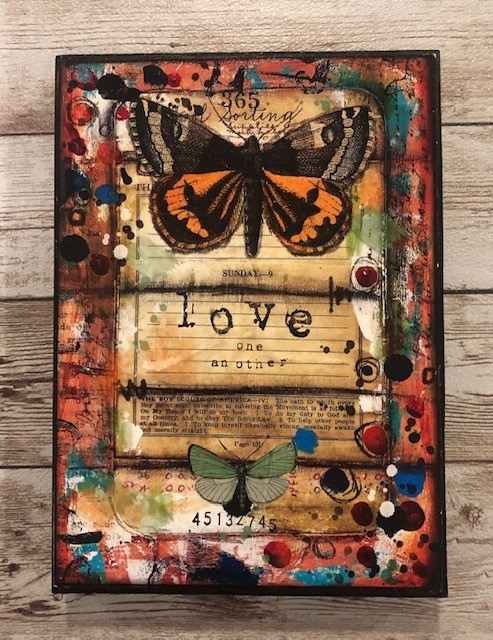 """""""Love One Another"""" print of original on wood 5x7"""
