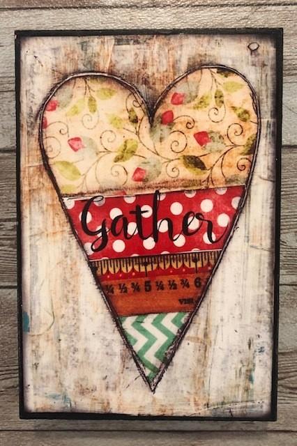 """Gather"" print of original on wood 4x6"