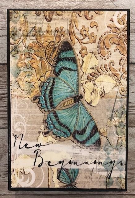 """New Beginnings"" print of original on wood 4x6"