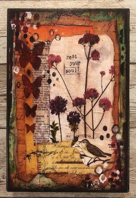 """""""Rest your Soul"""" print of original on wood 4x6"""