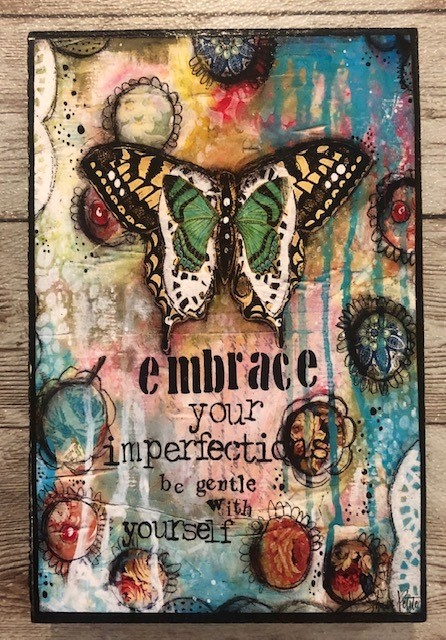 """Embrace"" print of original on wood 4x6"