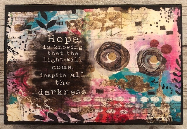 """Hope"" print of original on wood 6x4"