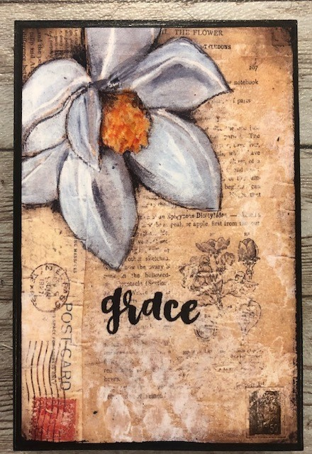 """Grace"" print of original on wood 4x6"