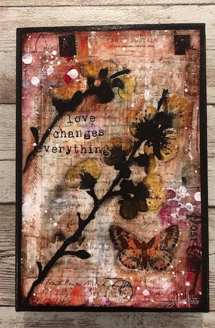 """""""Love changes Everything"""" print of original on wood 4x6"""