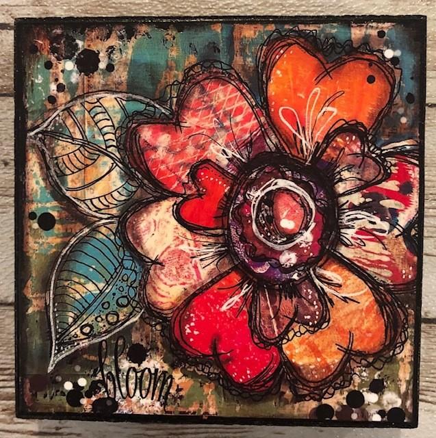 """""""Bloom"""" print of original on wood 4x4"""