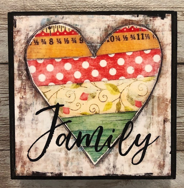 """Family"" print of original on wood 4x4"