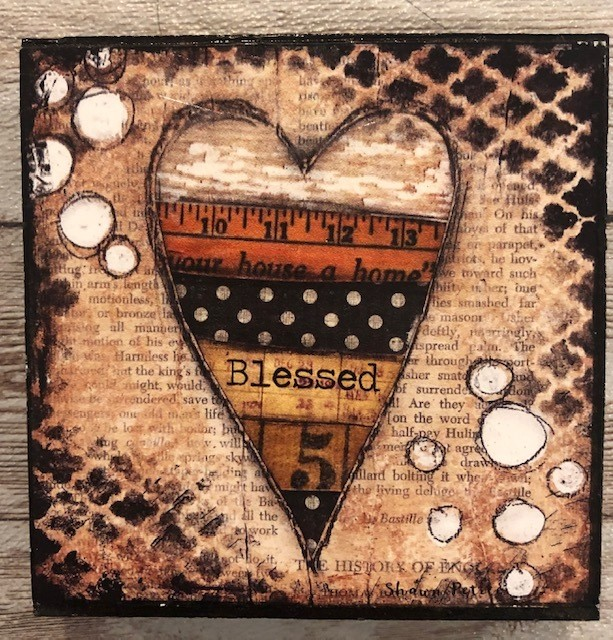 """Blessed"" print of original on wood 4x4"