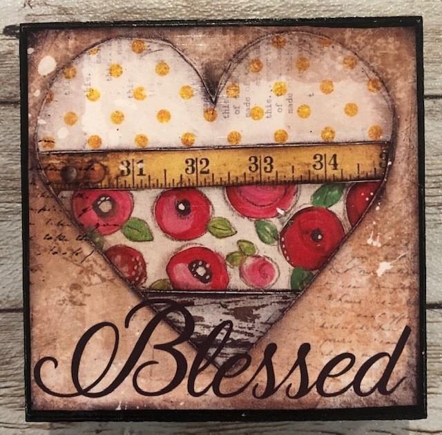 """Blessed"" print of original on wood 4x4"