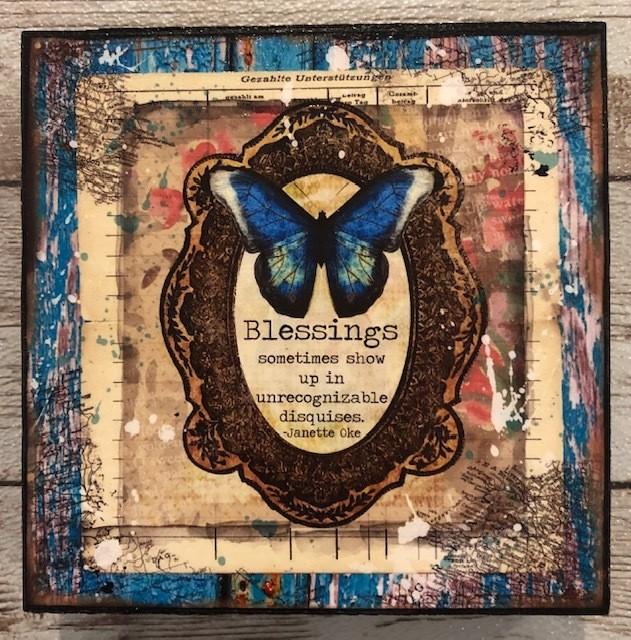"""Blessings"" print of original on wood 4x4"