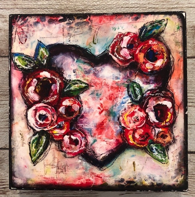 """Grateful Heart"" print of original on wood 4x4"