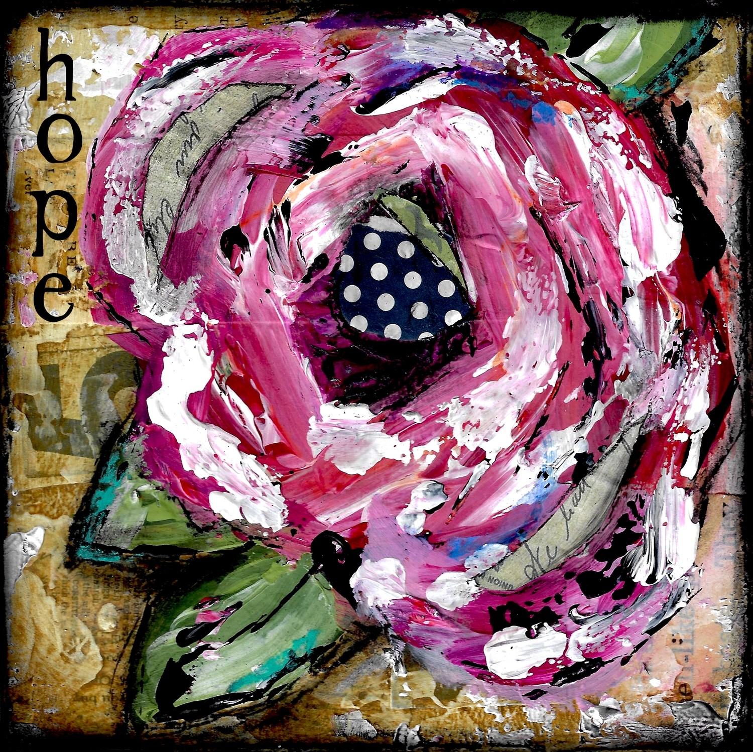 """Hope"" Flower Print on Wood and Print to be Framed"