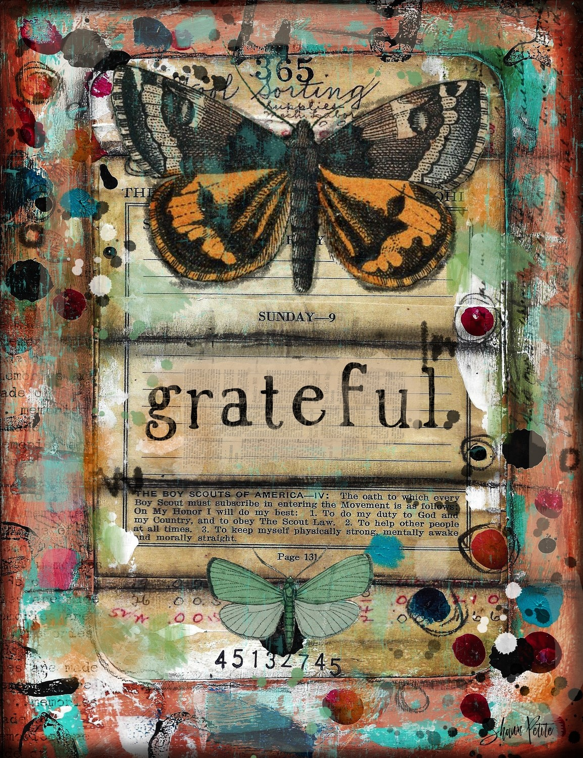 """Grateful"" butterfly Print on Wood and Print to be Framed"