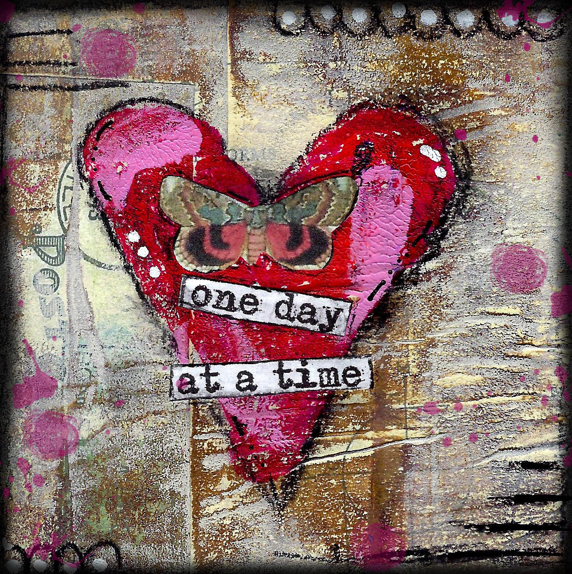 "Giving hearts ""One day at a Time"" 4x4"