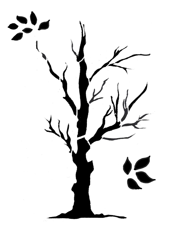 Tree large 1 stencil