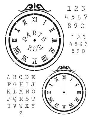Clock 1 Scroll Stencil