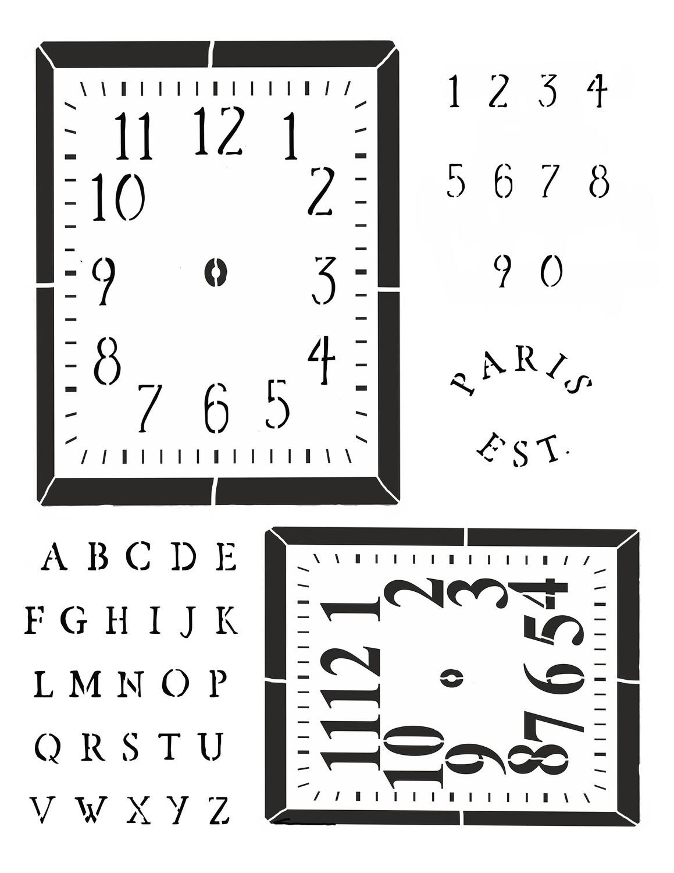 Clock 2 Square Stencil