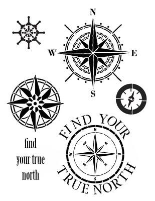 Find your true North Stencil