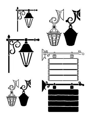 Lanterns and Signs Stencil