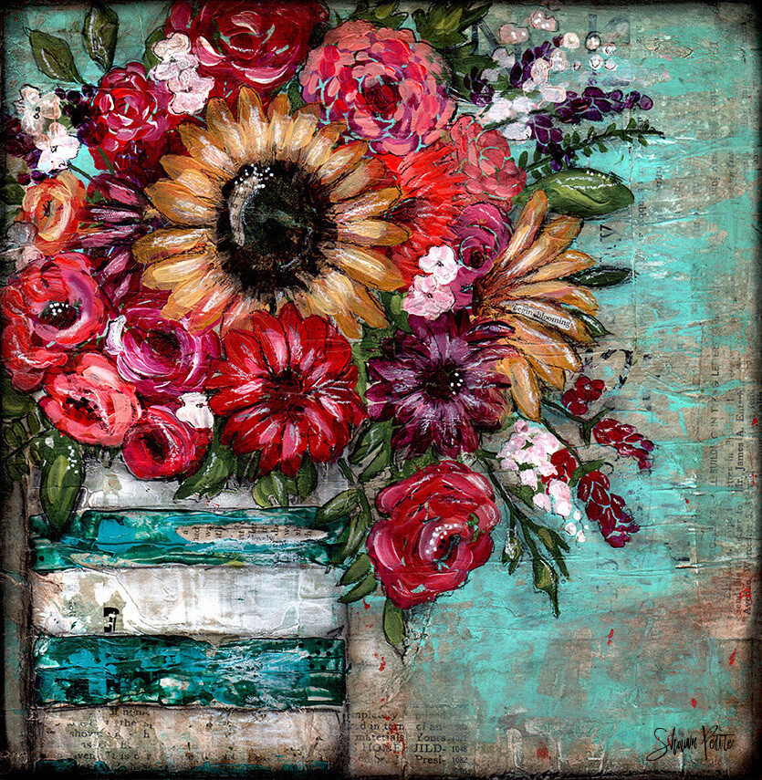 Lovely blooming mixed media original 12x12