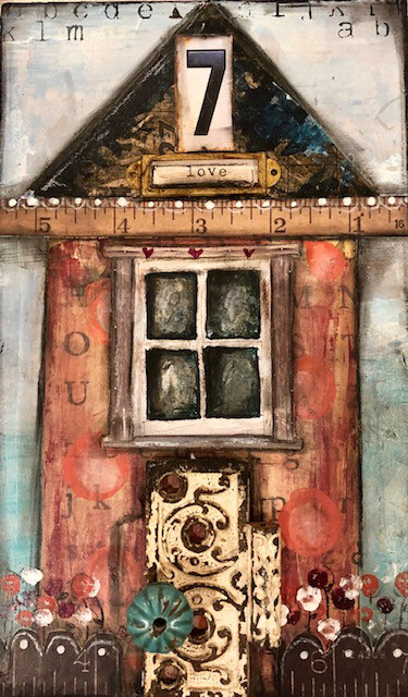 Love House #7 mixed media 7-1/2 x 12-1/2 original on wood