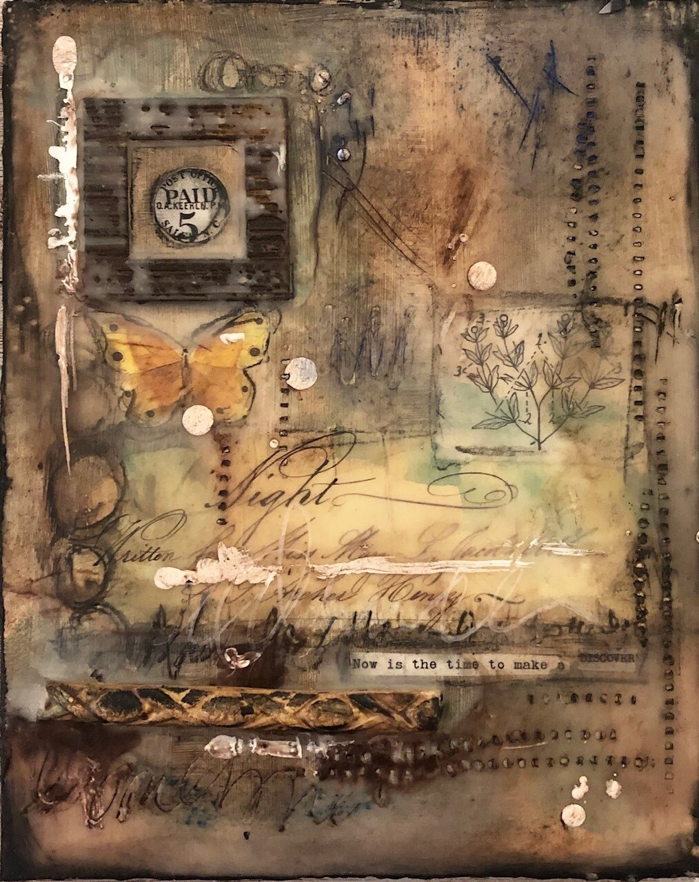 """Now is the time to make a Discovery"" 8x10 mixed media en-caustic original"
