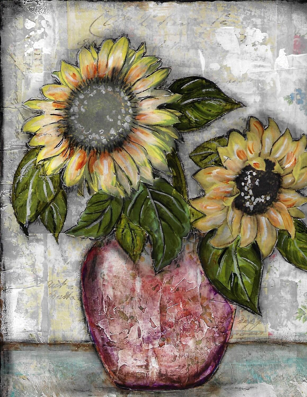 """Sunflower Duo"" 8x10 mixed media Original"