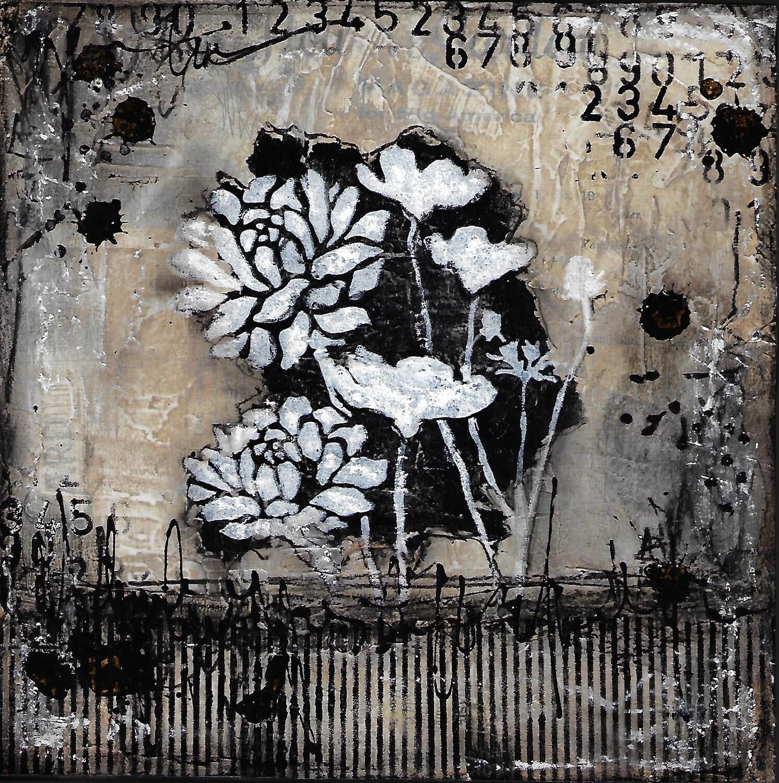 """Black and White Flowers"" 8x8 mixed media original"