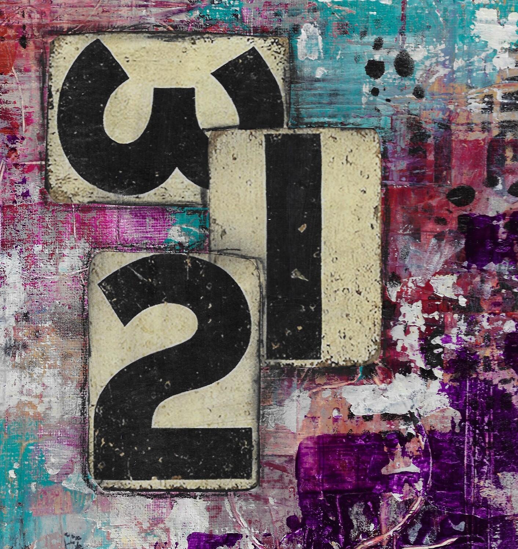 """321 Abstract"" 12x12 mixed media original"