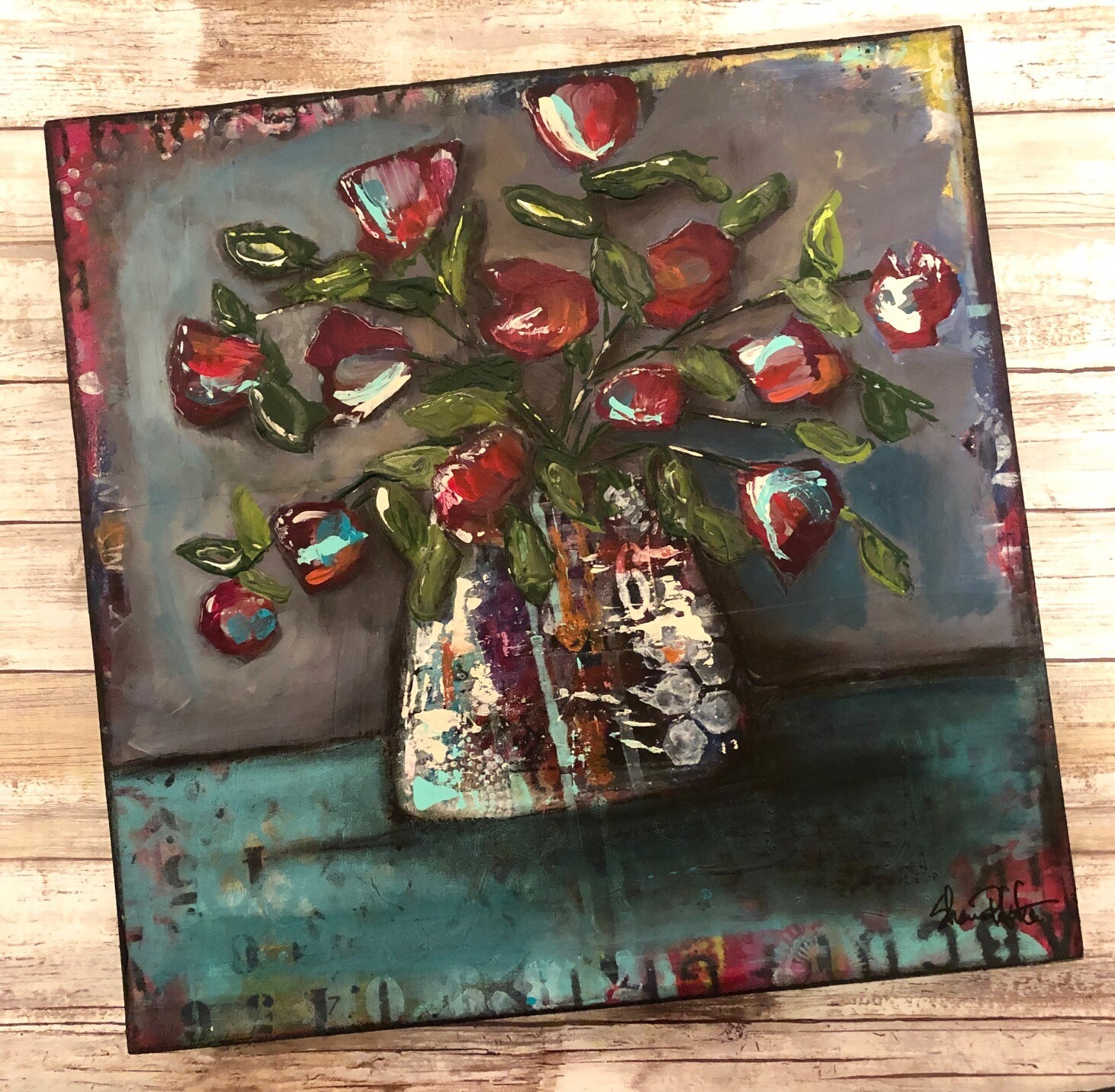 """Grungy Floral #2"" mixed media 16x16 original on a custom built wood frame"