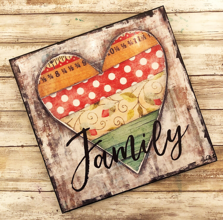 """Family"" heart 12x12 print on wood Clearance"
