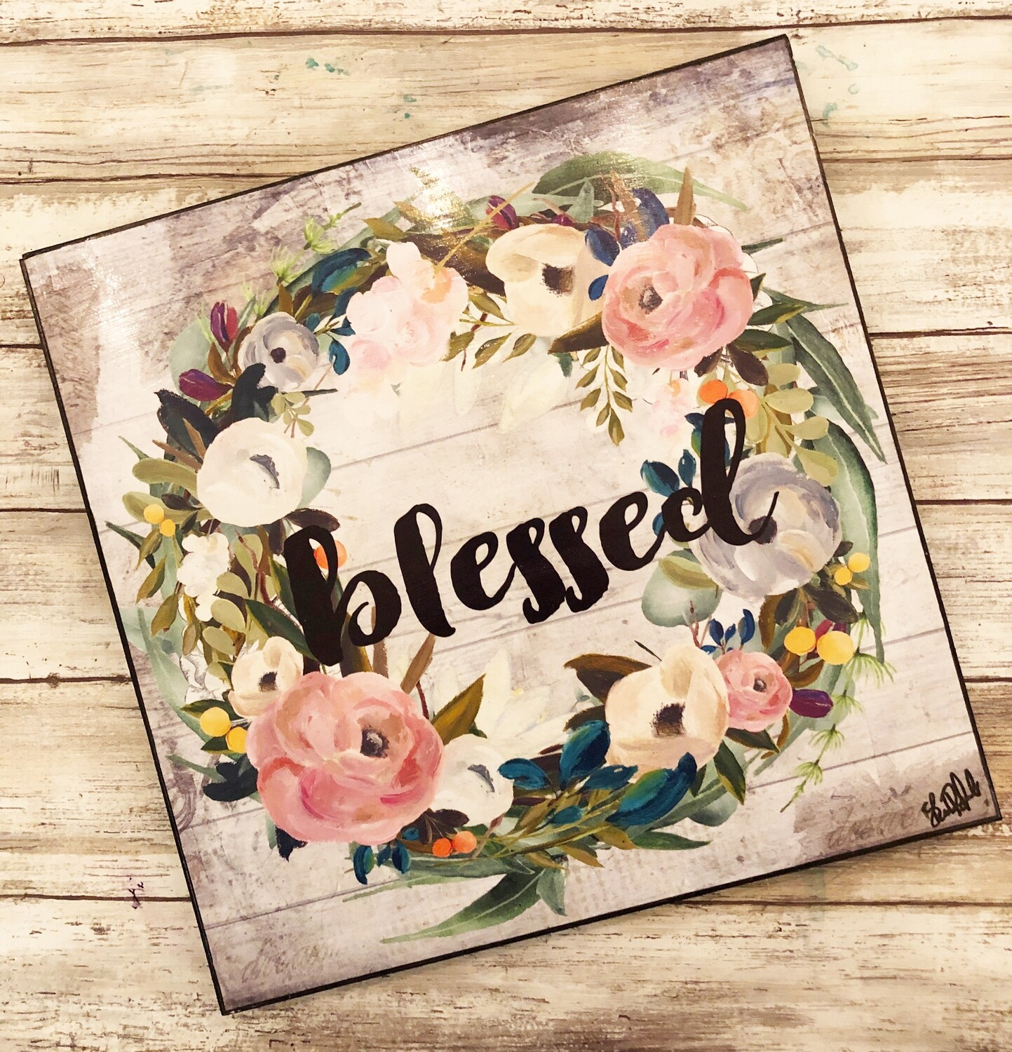 """""""Blessed"""" muted wreath 12x12 print on wood Clearance"""