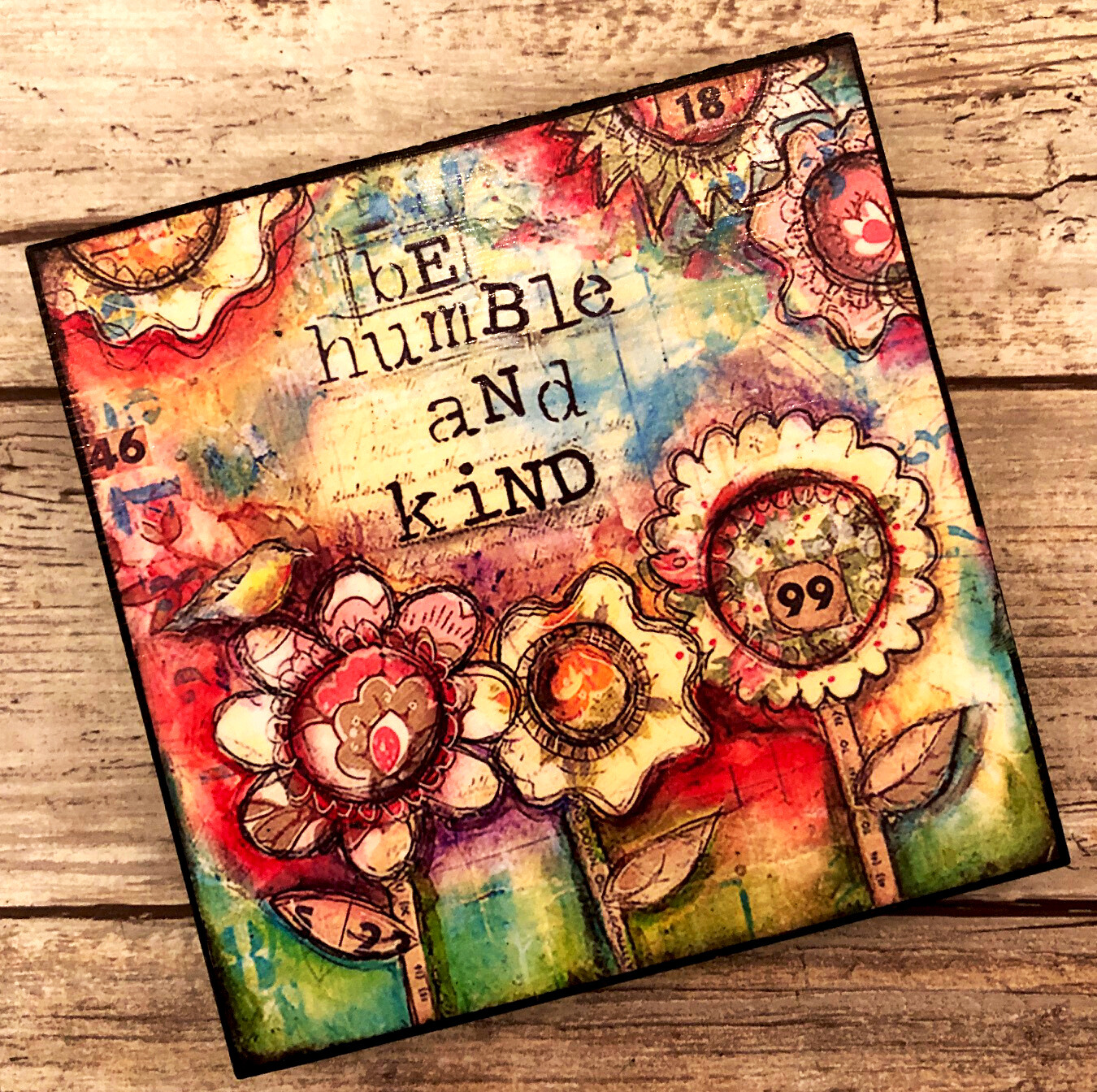 """""""Be Humble and Kind"""" 4x4 print on wood clearance"""