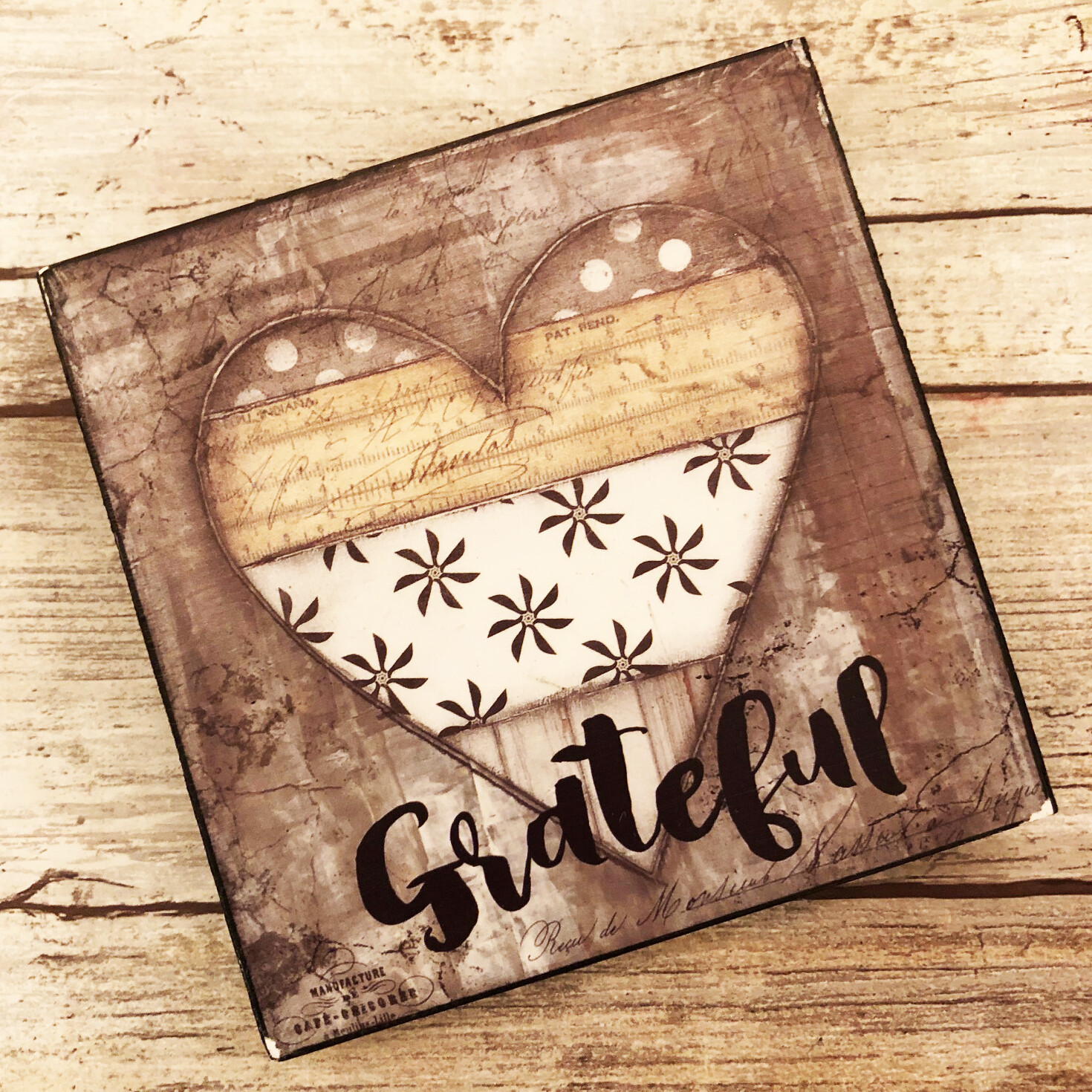 """Grateful"" 4x4 print on wood clearance"