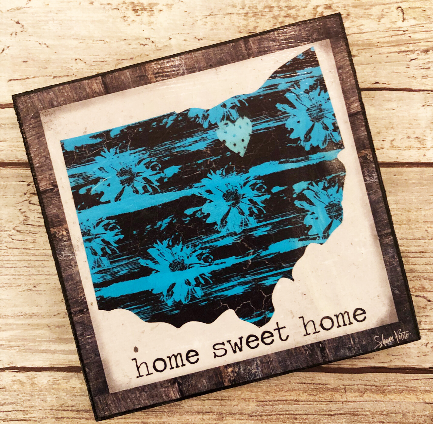 """Home Sweet Home"" 4x4 print on wood clearance"